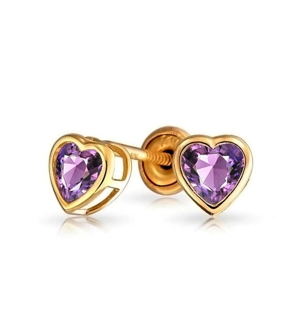 Bling Jewelry Simulated Amethyst February Birthstone CZ Heart Baby Safety Stud earrings 14k Gold 4mm - CE11ESOBNOX