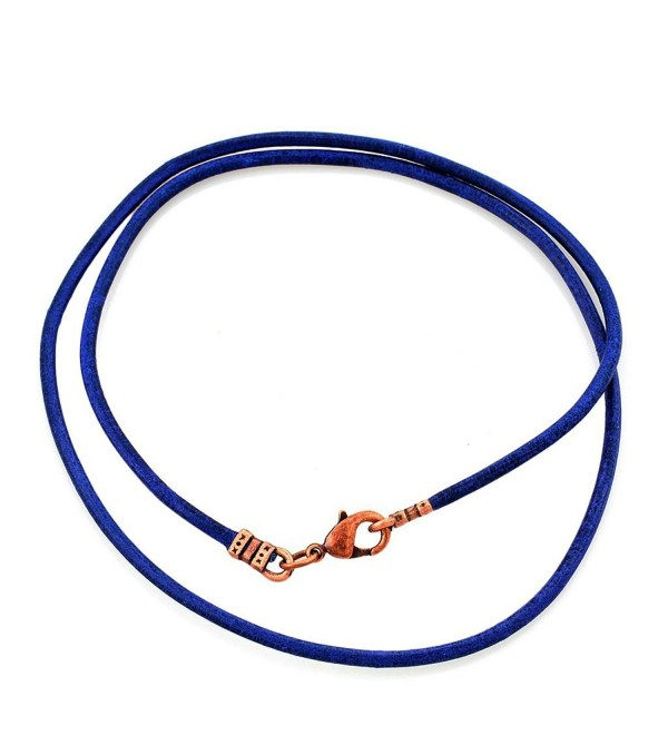 Antique Copper 2mm Fine Blue Leather Cord Necklace - CY128N8K7ZP