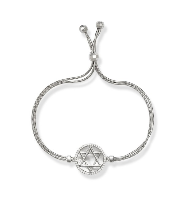 Sterling Silver Italian Double-Strand MOP & CZ Star of David Circle Adjustable Bead Bolo Bracelet - CP128VZN6PN