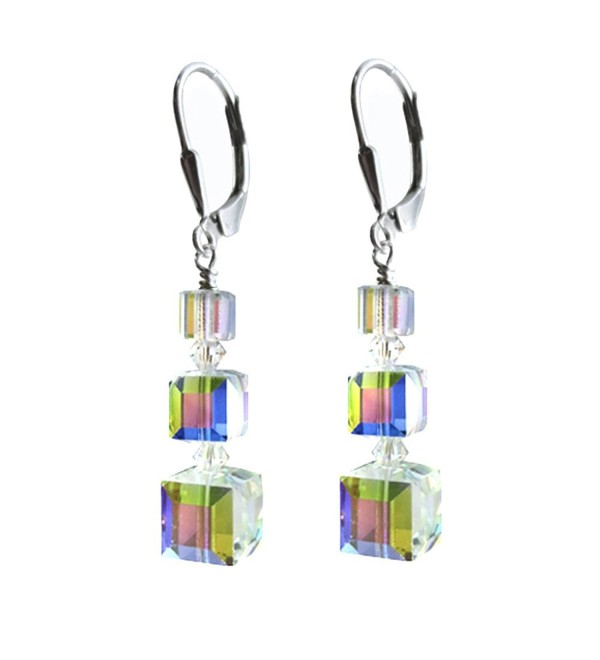 Clear AB- Cube Earrings made with Swarovski Crystal Elements Sterling Silver Lever-Back - CS11TB3DW6N