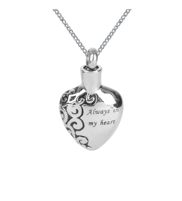 Heart Cremation Urn Pendant Ashes Necklace Always In My Heart Pendant Keepsake Memorial Jewelry - CW11A1CTBVH