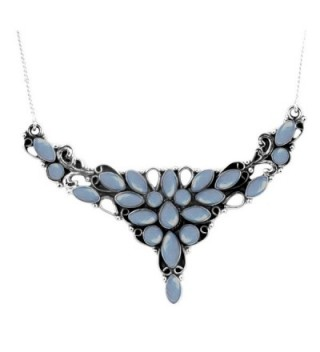 14.45ctw- 4x8mm Marquise Genuine & Created Gemstone & 925 Silver Plated Necklace - Chalcedony - CE186833A0K