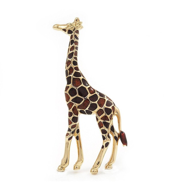 Brown Enamel 'Giraffe' Brooch In Gold Plated Metal - 50mm L - CW1171PPXC9