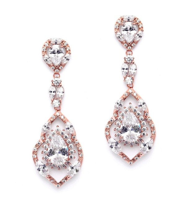 Mariell Gorgeous 14K Rose Gold Plated CZ Chandelier Dangle Wedding Earrings - Blush Bridal & Prom Jewelry - CV12JV6S5EN