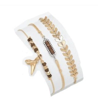 Fettero Bracelet Set of 3 Women Vintage Stretch Strand Handmade Chain Dainty Gold - Arrow - C1185OAUML9