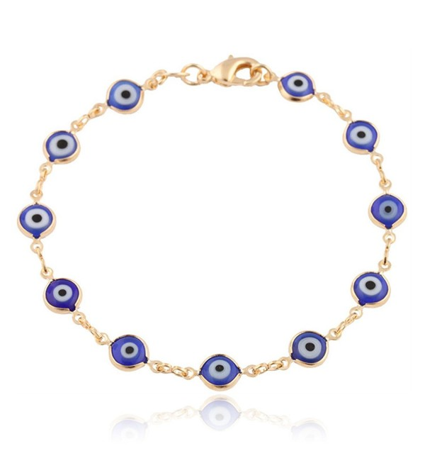 Gold Overlay with Navy Blue Mini Evil Eye Style 7.5 Inch Clasp Bracelet (T-326) - CC11E5CUCCR