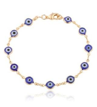 Gold Overlay with Navy Blue Mini Evil Eye Style 7.5 Inch Clasp Bracelet (T-326) - CC11E5CUCCR