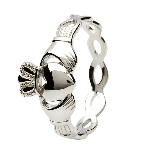 Women's Sterling Silver Claddagh Ring with Infinity Band - Made in Ireland - CZ12MZV02X2