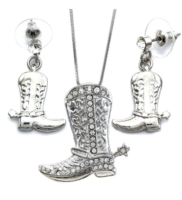 SoulBreezeCollection Lucky Western Cowboy Cowgirl Boots Necklace Pendant Charm & Earrings 2-piece Set - Clear - CK110U9BSOF