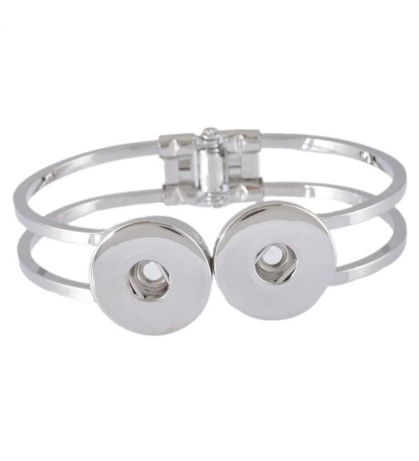 Souarts Silver Tone Color Bracelet Fits Snap Buttons - CU11Z8SA6EP