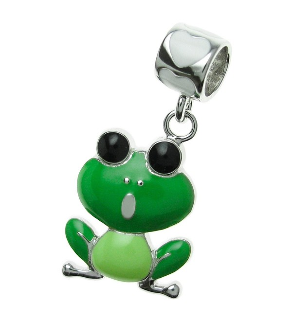 925 Sterling Silver Love Green Frog Enamel Dangle Bead For European Charm Bracelet - C811ZV1BJVJ