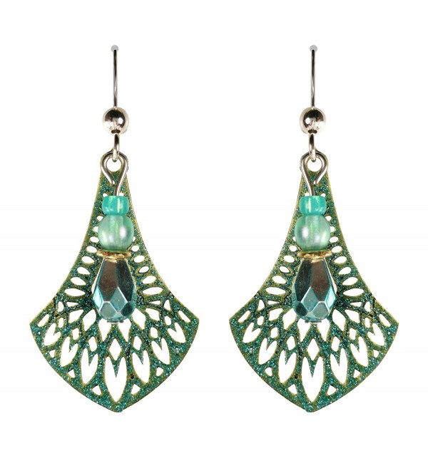Adajio by Sienna Sky Teal Filigree Necktie Bead Sterling Silver Earrings 7645 - C511NKM99XB
