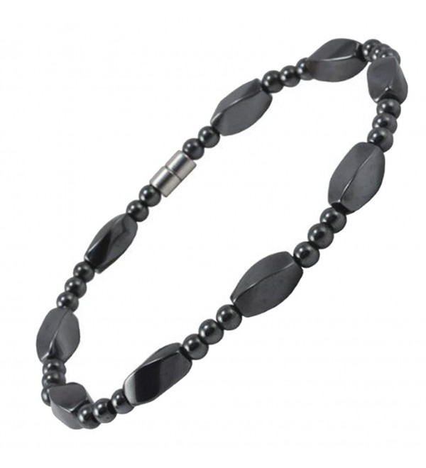 Extra Large 8.5 Inches Magnetic Twisted Beads Simulated Hematite Bracelet- Strong Magnetic Closure - C611017VVBL