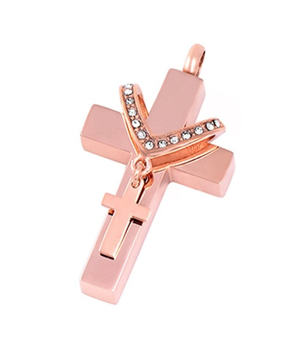 Double Cross Cremation Urn Neckalce Memorial Ashes Keepsake Pendant Funeral Locket with ENGRAVING - rose gold - C717YQOOE0S
