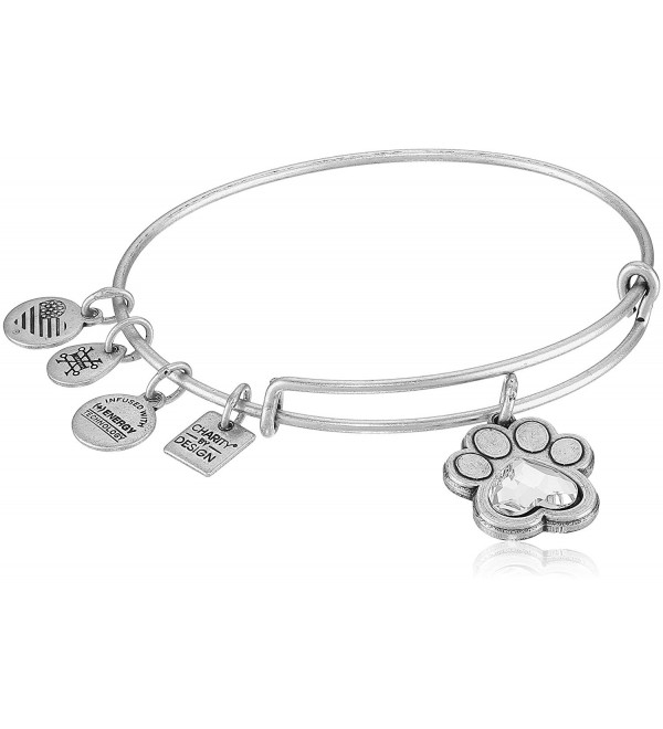 Alex and Ani Charity By Design- Prints of Love Expandable Bangle Bracelet - Rafaelian Silver - CZ17YSSKH03