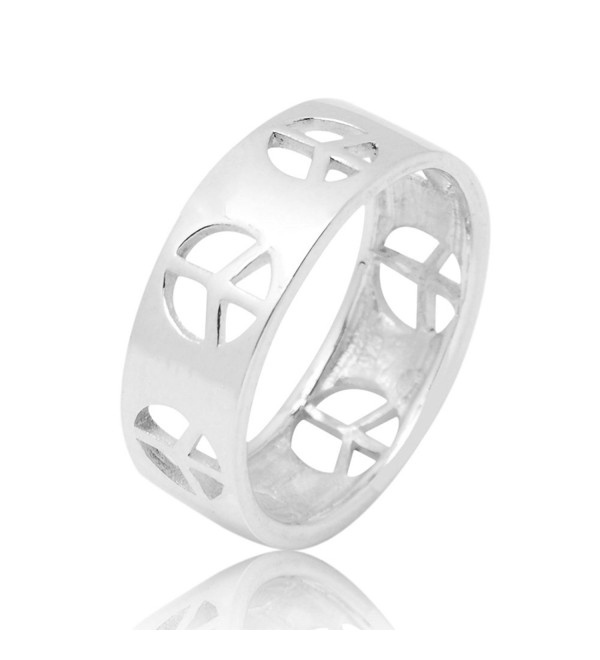 925 Sterling Silver Cut Open Peace Sign Symbol Polished Finish Unisex Band Ring Size 6- 7- 8 - CR12N1GYH23
