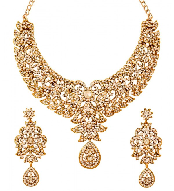 Touchstone Women's Antique Toned Bridal Earring and Necklace Set - Gold - CB12L5AXP51