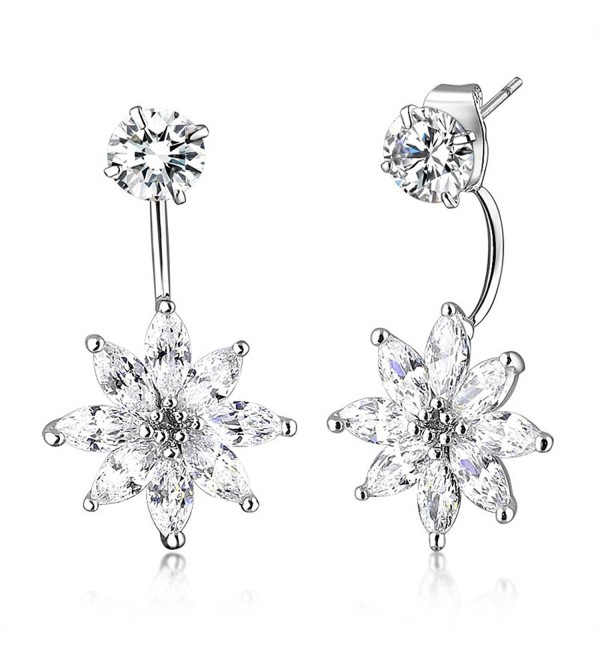Mytys Double Sided Front Back Stud Flower Cubic Zirconia Dangle or Silver Stud Earrings - C8125DTAWVF