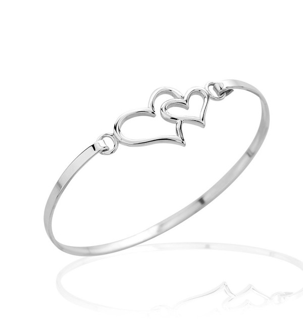 925 Sterling Silver Thin Line Double Hearts Symbol of Love Bangle Bracelet- Hook Closure Jewelry - C911RJUOXZT