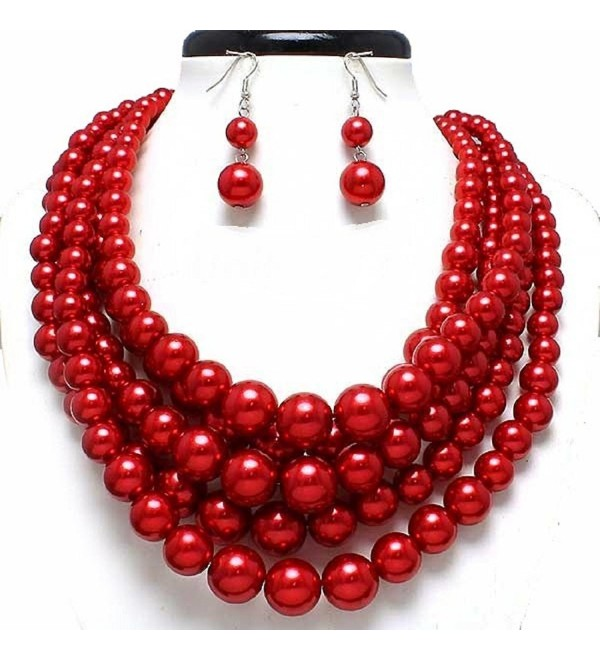 Statement Beaded Layered Strands Glitter Red Simulated-Pearl Bead Silver Chain Necklace Earring Set Gift - CP12EZIFOG9