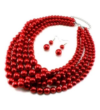 Statement Layered Strands Simulated Pearl Necklace in Women's Strand Necklaces