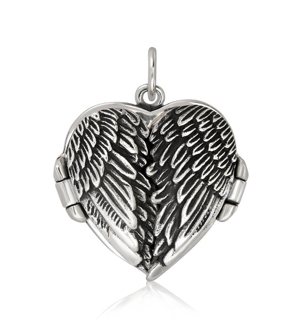 WithLoveSilver 925 Sterling Silver Feather Angel Wing Heart Love Charms Locket Pendant - CV119DCEBXP