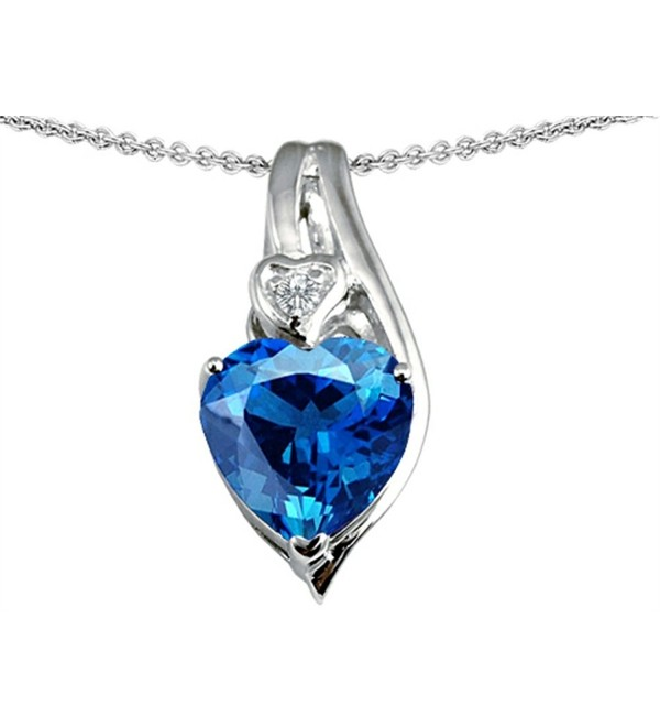 Star K Sterling Silver Large 10mm Heart Shape Heart Pendant - Simulated Blue Topaz - CO11FPCB1SF