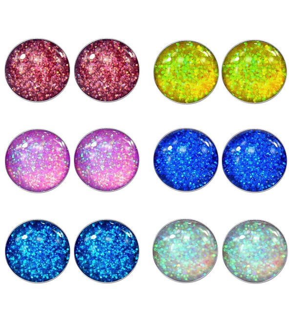 LilMents 6 Pairs of Glitter Sparkle Stainless Steel Stud Earrings (Red Yellow Pink Blues White) - CE1253YPB49