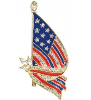 Gyn&Joy Gold Tone Crystal American Flag Brooch Pin USA Patriotic Jewelry BZ026 - CX17AZ5QUMQ