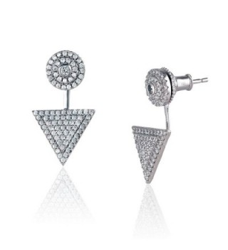 Platinum Plated 925 Sterling Silver Round Cubic Zirconia Round Disc Triangle Pave Earring Jackets - CS182XCK43N