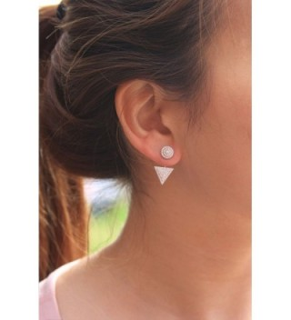 Platinum Sterling Zirconia Triangle Earring