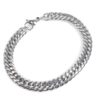 Stainless Steel Tight Double Link Curb Chain Bracelet 8mm - CF11C8YGJHB