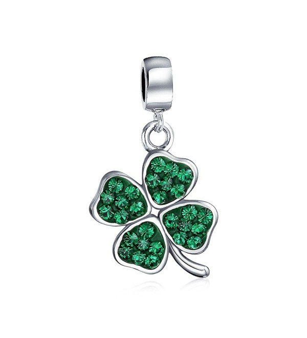 Bling Jewelry 925 Silver Green Crystal Shamrock 4 Leaf Clover Dangle Bead Charm - CF1194VNVNV