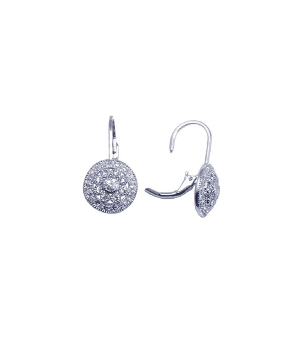 Sterling Silver Rhodium Plated- Vintage Style Round Cluster Lever Back Drop Earrings - C41171O4M9P