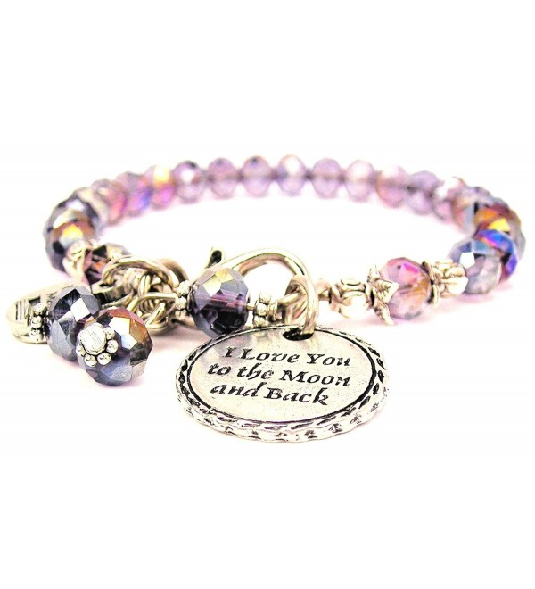 I Love You to the Moon and Back Detailed Trim Crystal Color Sapphire Bracelet - CD11PV6N71T
