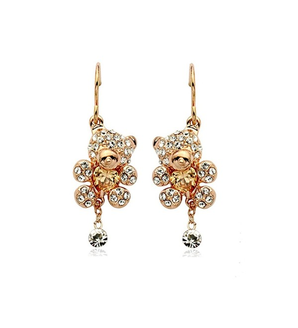 Gold Plated Teddy Bear with Heart Shaped Golden Brown Swarovski Elements Crystal Dangle Earrings Fashion Jewelry - C9124KLJ9O9