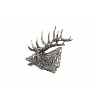 Creative Pewter Designs- Pewter Elk Head Bugling Large Handcrafted Lapel Pin Brooch- M001 - CK122XIL287