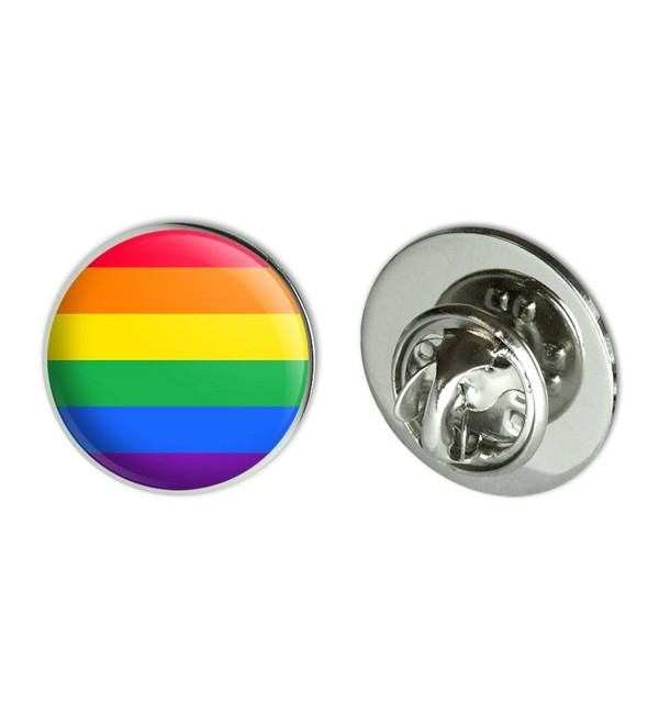 "Rainbow Pride Gay Lesbian Contemporary Metal 0.75"" Lapel Hat Pin Tie Tack Pinback - C1184LNCXNM"