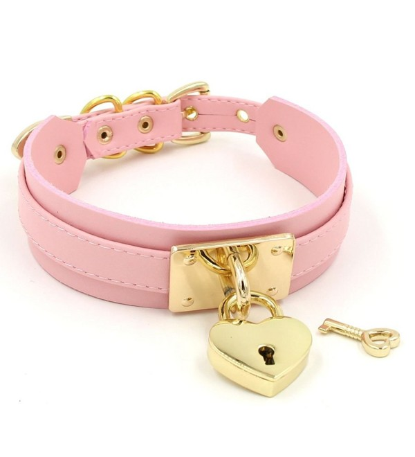 Handmade Heart Lock Thick Faux Leather Cosplay Choker Collar Necklace - Pink with gold alloy - CR12N11CBJO