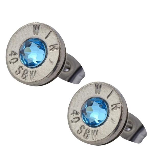 Little Black Gun Thin Nickel Plated 40 S&W Bullet Shell Crystal Stud Earrings in Sea Blue - CW127BOU8VP