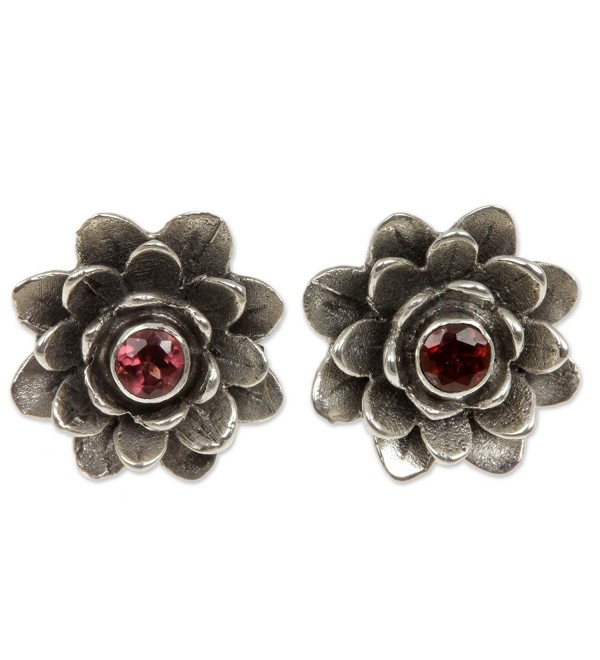 NOVICA Garnet .925 Sterling Silver Flower Button Earrings 'Red-Eyed Lotus' - CB11123OW5F