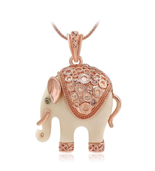 "Kemstone Sexy Rose Gold Tone Ivory Elephant Pendant Necklace Women Jewelry- 15""+1.77"" Extender - C712HLRIZ1R"