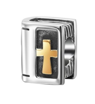 Gold Plated Holy Bible Charms 925 Sterling Silver Christian Beads Keep Faith Charm for Charm Bracelets - CZ12O3MWOI7