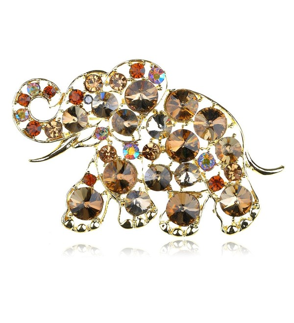 Alilang Golden Tone Brown Rhinestones Animal Baby Elephant Trunk Brooch Pin - Multicolor - CI117MBCG0J