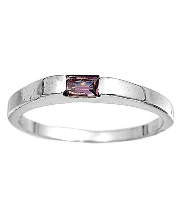 CHOOSE YOUR COLOR Sterling Silver Small Stackable Accent Ring - Simulated Amethyst - C5187Z3ER7H