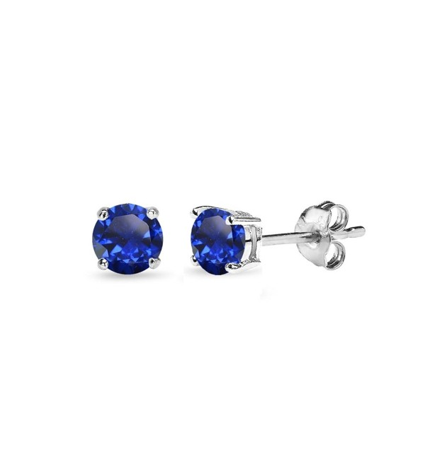 Sterling Silver Created Blue Sapphire Round-Cut Solitaire Stud Earrings- All Sizes - 4mm - Silver - CN12J35SAAJ