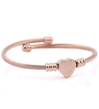 VQYSKO 3 Colors Jewelry Women's Stainless Steel Twisted Cable Wire Heart Charm Bracelet Bangle - CF17Y0GGZQL