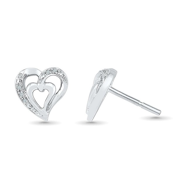 Sterling Silver White Round Diamond Heart Earring (0.03 Cttw) - CE12G9JEDRX