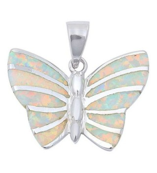 "Lab Created Opal Butterfly .925 Sterling Silver Pendant Necklace .75"" long - Lab Created White Opal - CE11OH4CFFP"