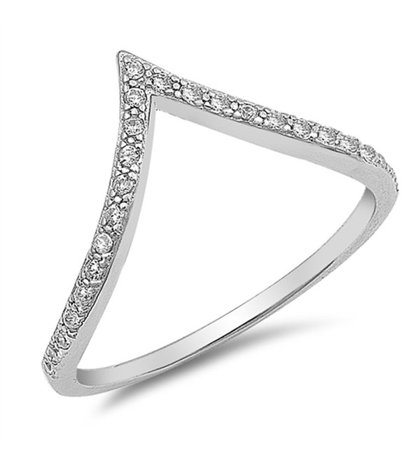 White CZ High Point V Shape Chevron Ring New 925 Sterling Silver Band Sizes 4-10 - CK182I2L6Q7